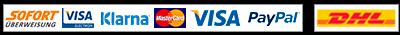 Sofort, Visa, klarna, Mastercard, VISA, Paypal, DHL
